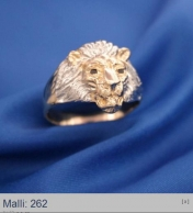 Leijona kultasormus mustilla timanteilla 0,01 rodinoitu