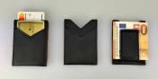 Nahkainen lompakko, korttitaskuilla ja magneettiklipsi seteleille.